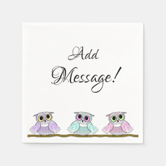 Three Cute Owls Add Message Paper Napkins