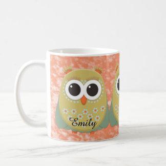 Three Cute Owls with Pigtails on Orange Grunge Coffee Mug