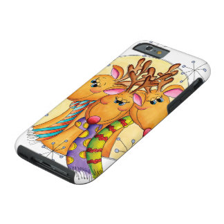 Three Cute Reindeer Wearing Scarves with Stars Tough iPhone 6 Case