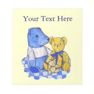 three cute teddies on picnic cloth original art notepad