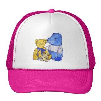 Three cute teddy bears still life art trucker hat