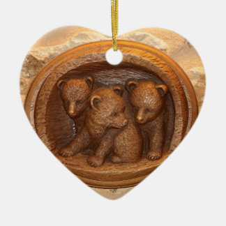 Three cute wooden carved bears on plaque ceramic heart ornament