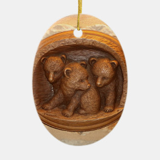 Three cute wooden carved bears on plaque ceramic oval ornament