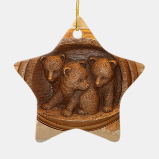 Three cute wooden carved bears on plaque ceramic star ornament