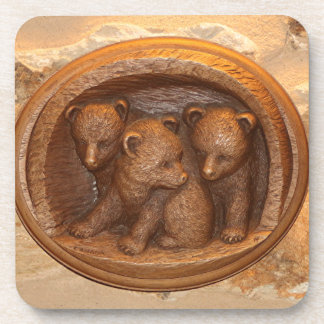 Three cute wooden carved bears on plaque drink coaster