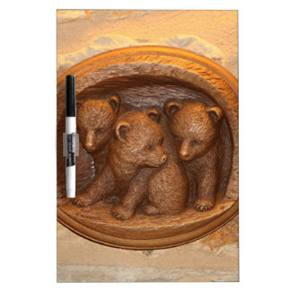 Three cute wooden carved bears on plaque dry erase whiteboards
