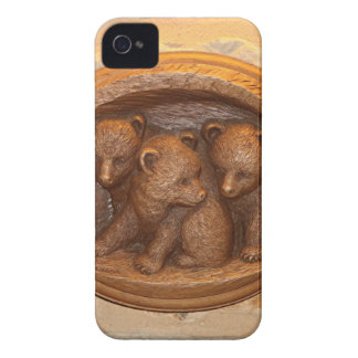 Three cute wooden carved bears on plaque iPhone 4 cases