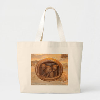 Three cute wooden carved bears on plaque large tote bag