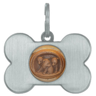 Three cute wooden carved bears on plaque pet tag