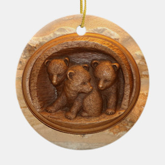 Three cute wooden carved bears on plaque round ceramic ornament