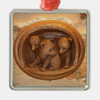 Three cute wooden carved bears on plaque Silver-Colored square ornament