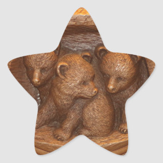 Three cute wooden carved bears on plaque star sticker