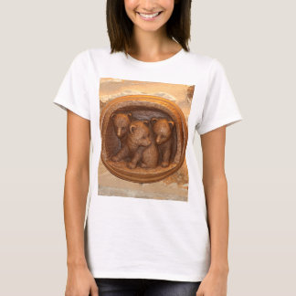 Three cute wooden carved bears on plaque T-Shirt