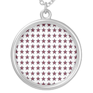 Three-D Patriotic Stars Silver Plated Necklace