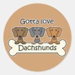 Three Dachshunds Round Sticker