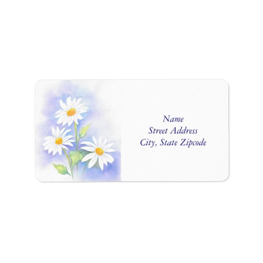 'Three Daisies' Watercolor Label