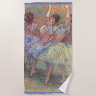 Three Dancers by Edgar Degas, Vintage Ballet Art Beach Towel