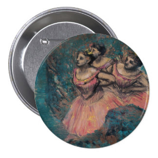 Three Dancers in Red Costume by Edgar Degas 3 Inch Round Button