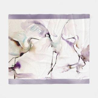 """""""Three Dancing Cranes"""" Watercolor Fleece Blanket"""