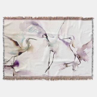 """Three Dancing Cranes"" Watercolor Throw Blanket"