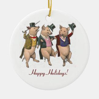 Three Dancing Pigs Christmas Ornament