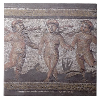 Three dancing putti accompanied by one playing the ceramic tile