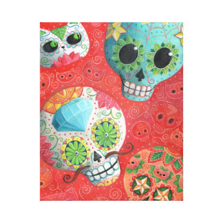 Three Day of The Dead Skulls Gallery Wrap Canvas