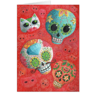 Three Day of The Dead Skulls Greeting Card