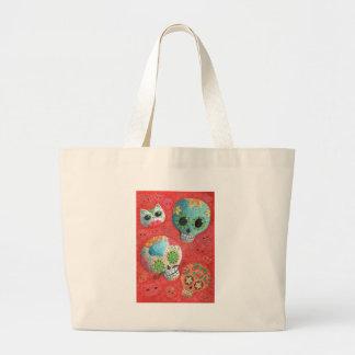 Three Day of The Dead Skulls Jumbo Tote Bag