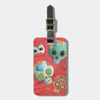 Three Day of The Dead Skulls Tag For Luggage