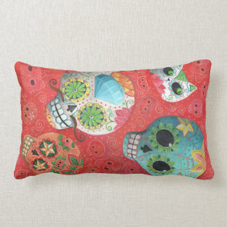 Three Day of The Dead Skulls Pillow
