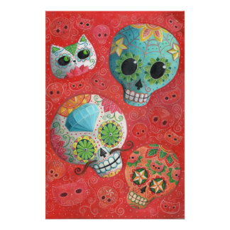 Three Day of The Dead Skulls Poster