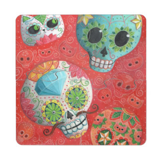 Three Day of The Dead Skulls Puzzle Coaster