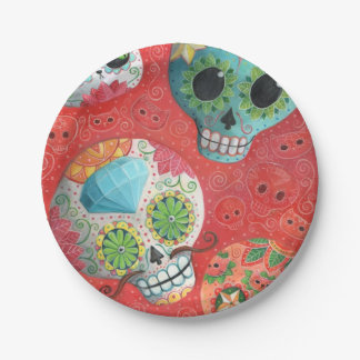 Three Day of The Dead Skulls 7 Inch Paper Plate