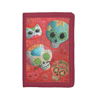 Three Day of The Dead Skulls Tri-fold Wallet