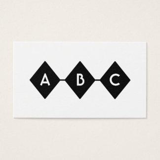 Three Diamonds Black and White Monogram Business Card