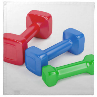 Three different dumbbells napkin