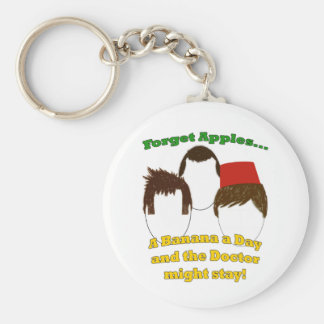 Three Doctors, Apples, and Bananas Basic Round Button Keychain