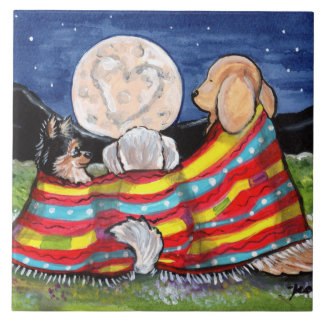 "Three Dog Friends Watching Moon 6"" Tile Trivet"