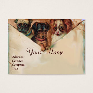 THREE DOGGIES WITH ROSES, Parchment,Monogram Business Card