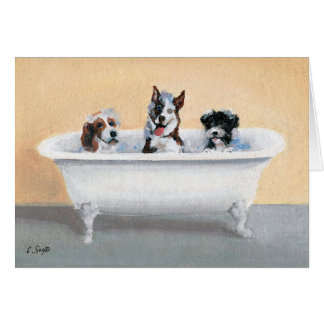 Three Dogs in a Tub Card