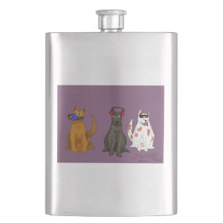 """Three Dogs Obey"" Classic Flask"