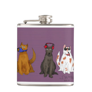 """Three Dogs Obey"" Vinyl Wrapped Flask"
