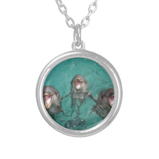 Three dolphins in turquoise blue water silver plated necklace