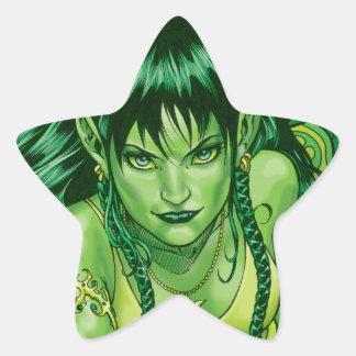Three Earth Fairies Fantasy Art by Al Rio Star Sticker