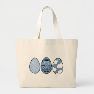 Three Eggs Blue Large Tote Bag