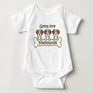 Three English Foxhounds Baby Bodysuit