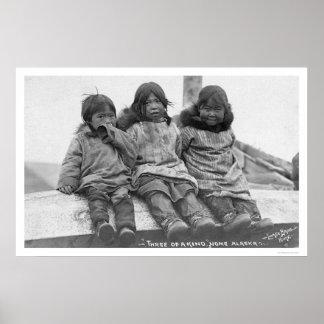 Three Eskimo Children Nome 1908 Poster
