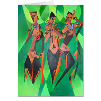 Three Ethnic Traditional Black Women Dancing Greeting Card