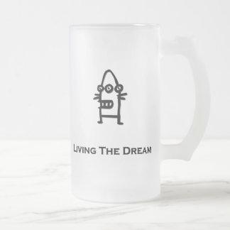 Three Eye Bot Living The Dream black Frosted Glass Beer Mug